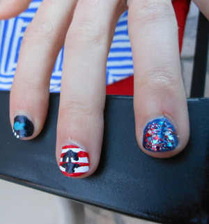 Nautical nails I did for my cousin's going away (Bon Voyage) party