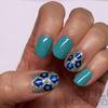 Glittery Floral Nail Art