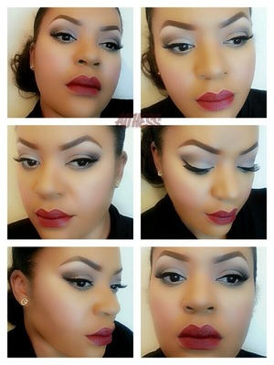 """kind of a smokey & red lips (Rimmel London lasting finish by Kate """"111 kiss of life)"""