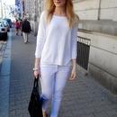 Lace Slim White Pants