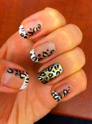 Leopard manicure with gold accent nail to keep it all interesting...