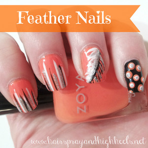 Tutorial on the blog: http://www.hairsprayandhighheels.net/2013/04/diy-feather-nails-mani-monday.html