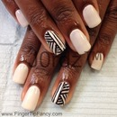 Black and white tribal nails