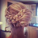 Blonde braided side bun