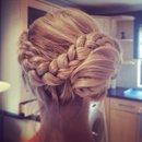 Blonde braided side bun