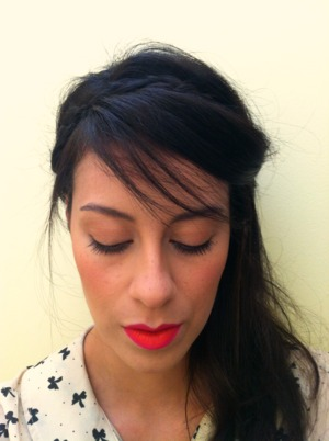 two-tone lip (pink+orange) and drawn-on freckles and messy braids inspired by Holly Fulton Spring 2013.