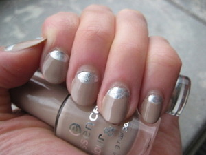 neutral nail with silver half moon