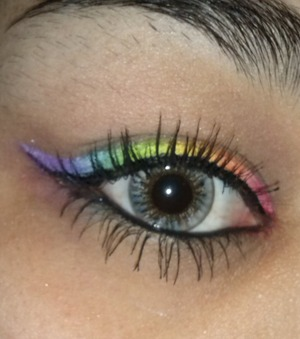 I created a rainbow winged liner :D using bhcosmetics 120 3rd edition palette and take me to brazil palette. I Also used NYX retractable liner in the color white as a base for the rainbow line :) very easy to do :..Also my eyebrows are a mess cause im letting them grow out, to redo them