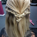 Back comb and french braid.
