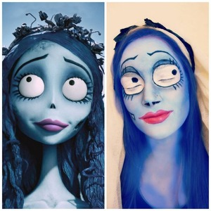 Here is a look I created on my sister of Tim Burton's Corpse Bride.