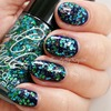 Blue Glittered Nails with Cult Nails