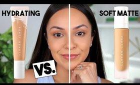 FENTY BEAUTY HYDRATING FOUNDATION VS. SOFT MATTE FOUNDATION! - TrinaDuhra
