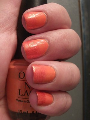 Orange sparkly gradient nails