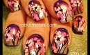 PINK DAISIES ON A LAVENDER GRADIENT SUNSET: robin moses nail art design tutorial