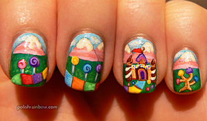 These are based on the cute children's board game Candyland!  The blog post is here: http://www.polishrainbow.com/2012/11/reddit-52-week-challenge-inspired-by.html