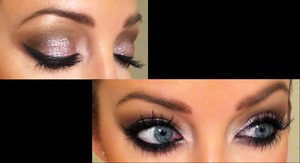 Appearance of a neutral smokey eye while eyes are open, then a flash of pink glitter glam when eyes close.