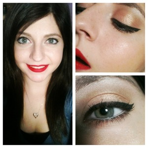 Red lips ; gold eyes
