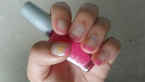 Pink French Tips with glitter and yellow hearts!