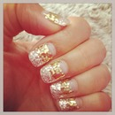 My Gold silver exotic sparkle nail design