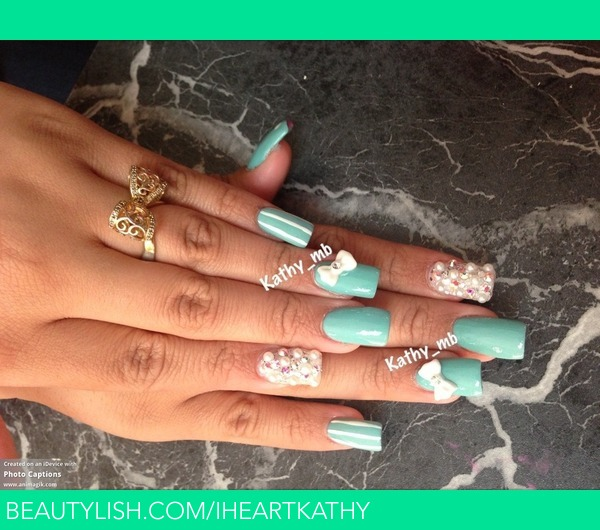 Bow nails with pearls | Kathy B.\'s (Iheartkathy) Photo | Beautylish