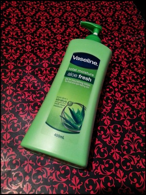 Vaseline Total Moisture Aloe Fresh 24 Hour Nourishing Lotion – 5/5 Stars  Cost: $7.68 for a 400 mL bottle.  Upsides: - I really, really like this product; it applies smoothly and feels so light on your face that after a minute or so you can't even feel it there. - I like to use this product when I wake up in the morning, after I take a shower and right before I go to bed.  - I also like to use it underneath my foundation, that way I don't have to use as much primer.  Downsides: - When it starts to dry it feels slightly greasy to touch, but apart from that it's great.