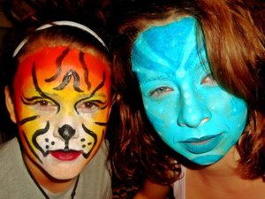 An avatar and a lion (cheap walmart facepaint sorry)