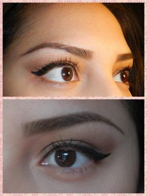 Today's eye makeup...bobbi brown cosmetics...la splash eyeshadow base, Navajo - brow bone, hot stone - crease, mica and stone wash on the lid, inglot liner 77, benefit they're real mascara