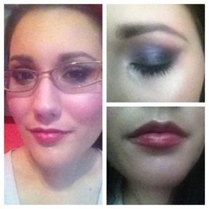 This is a look I created on myself to do dark plum smoky eyes with berry lips - two fall trends - in a wearable way.