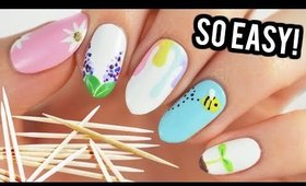 Nail Art For Beginners Using A TOOTHPICK! (Spring Edition)