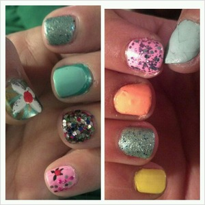 pastel colors and a little sequins...i was feeling a little bored. hah