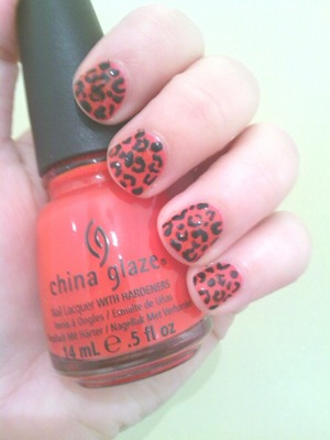 Orange leopard print nails using china glaze polish