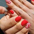 Red Nails/Nails/Nail Art/Roses/Rose