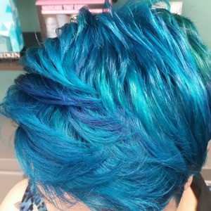 bright blue and dark blue with a little bit of teal