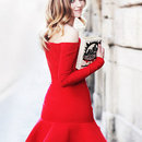Flounced red Bandage dress