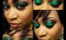 Emerald Glitter Smokey Eye Look