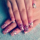 Leopard Zebra Bow Nails