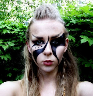 This was inspired by the war paint on the characters from the awesome game Skyrim! For a tutorial visit: http://makeupisart.se/2012/05/16/skyrim-inspired-makeup/  Like me on facebook!  http://www.facebook.com/pages/Makeup-Is-Art/455624517797347