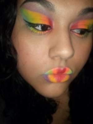 This look was inspired by the Bhcosmetics take me to brazil palette :D Rainbow colors