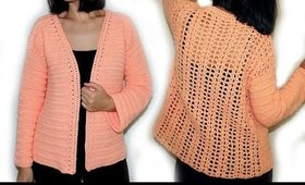 Crochet Elegant Cardigan Sweater | Lace Back