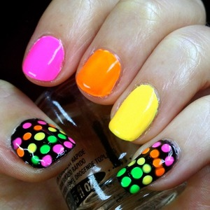 Publish on Polishpedia http://polishpedia.com/neon-glow-in-the-dark-nails.html All the neon glow in the dark polishes are from born pretty store,  and for 10% off your order go to http://bit.ly/ihBHUJ and use the coupon code MIHW10 at checkout. I just got some amazing seriously neon polishes and had to try them out. I went for a fun skittles manicure, mainly so I could use all the crazy colours, and I envisioned a black background for polka dot accent nails to complete the picture. The best thing is that they really glow in the dark!