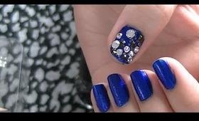Quick Diamond Gem Accent Nail tutorial - Strangekitty.ca