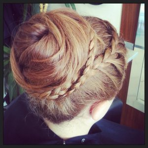 My plaited bun I did on a young piper