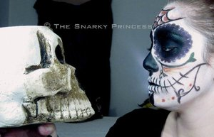 Dia de los Muertos Day of the Dead Sugar Skull Look Halloween 2010 Inspirations  http://snarky-princess.com/2010/10/30/get-the-look-dia-de-los-muertos-day-of-the-dead-sugar-skull-makeup-tutorial/