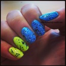 Matte neon with black and white glitter