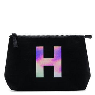 Holographic Foil Initial Makeup Bag Letter H