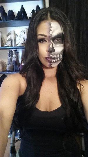 half skeleton Halloween makeup