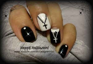 Halloween Nail Art Design | Fun 'Nun' Nails ♥