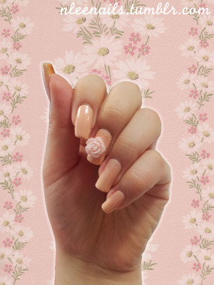 It's finally spring!  I've been waiting for spring for such a long time because flowers and nail art is just inseparable. This is very casual and simple nail art design using flower 3D accessory. The baby pink is more beige (skin tone) than what the picture shows.  What's does your spring nail look like?  nleenails.tumblr.com @nleenails