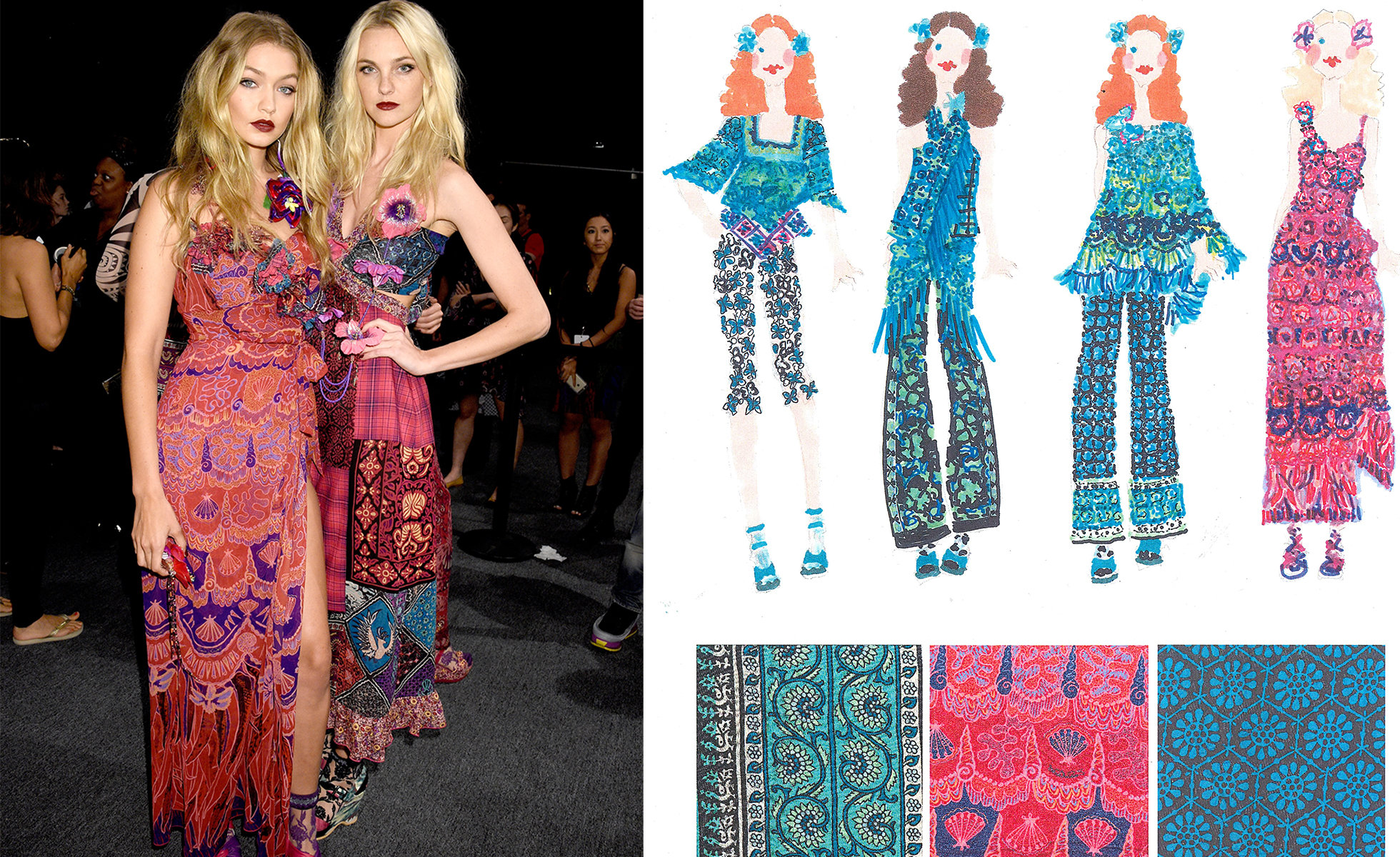 Left: Gigi Hadid and Caroline Trentini backstage in Spring 2016 Tahiti Collection. Photo: Jennifer Graylock; Right: Sketches from Anna Sui Spring 2016 Tahiti Collection | Image courtesy of Anna Sui