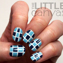 Blue Checkerboard Tape Manicure